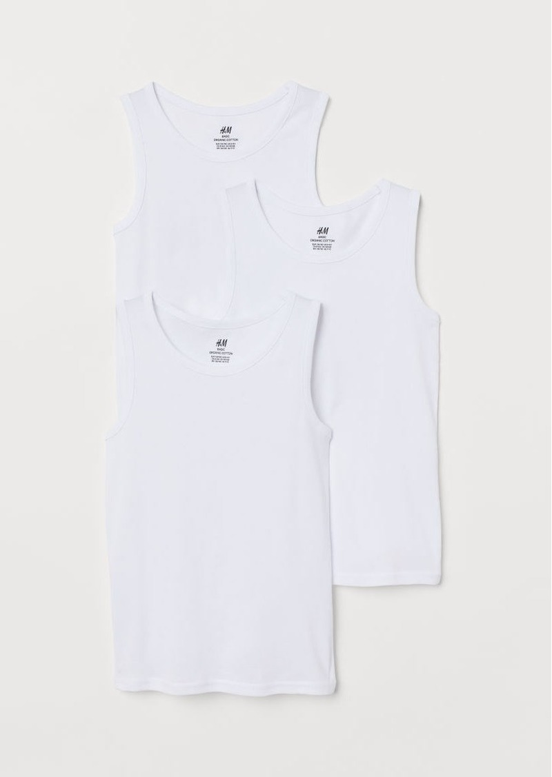 H&M H & M - 3-pack Cotton Tank Tops - White