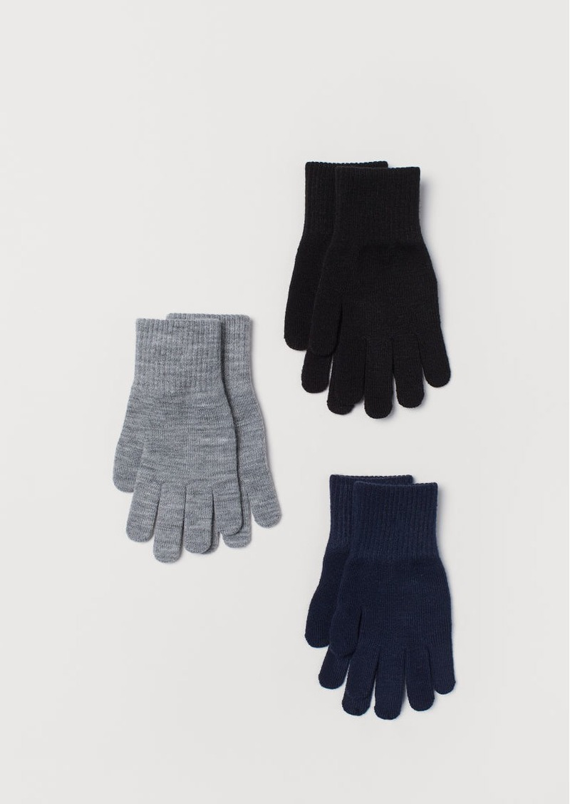 H&M H & M - 3-pack Gloves - Black