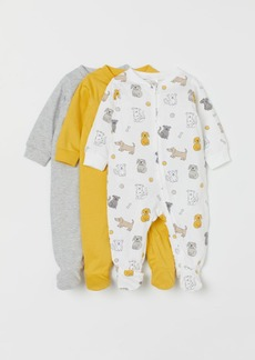 H&M H & M - 3-pack Jumpsuits with Zipper - Yellow