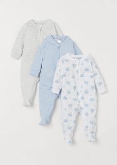 H&M H & M - 3-pack Jumpsuits with Zipper - Blue