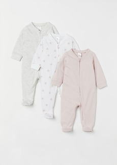 H&M H & M - 3-pack Jumpsuits with Zipper - Pink