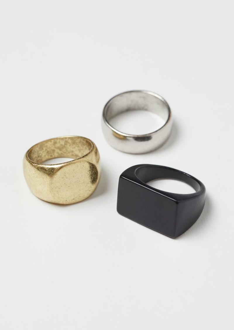 H&M H & M - 3-pack Metal Rings - Black