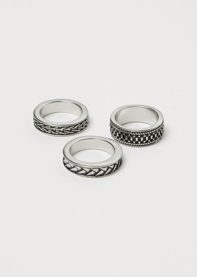 H&M H & M - 3-pack Rings - Gray