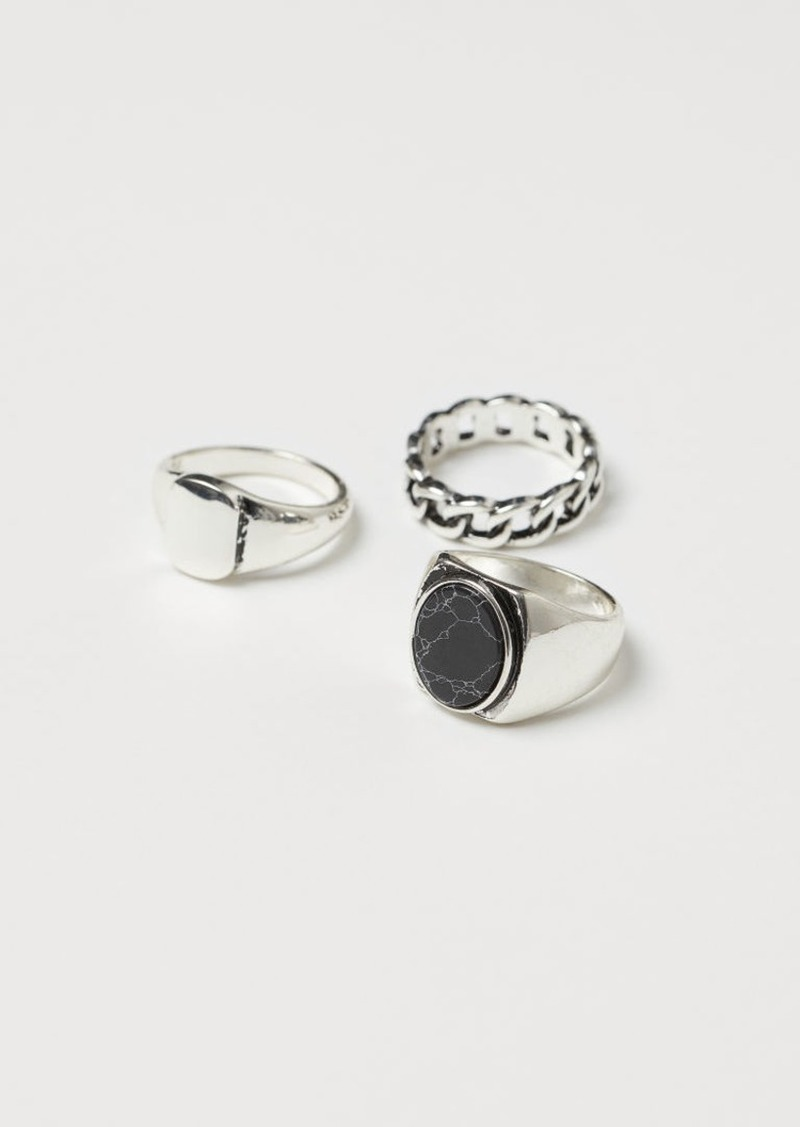 H&M H & M - 3-pack Rings - Silver
