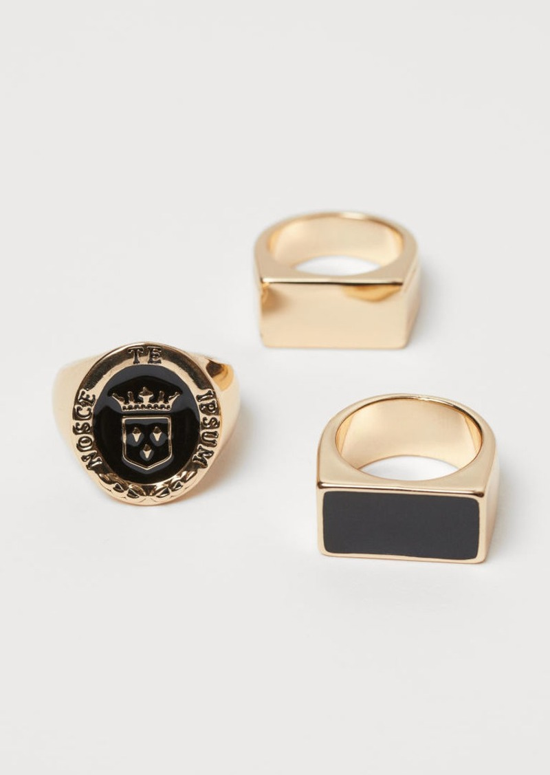 H&M H & M - 3-pack Signet Rings - Gold