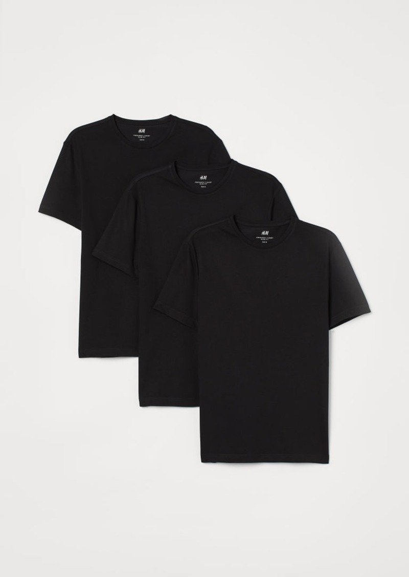 H&M H & M - 3-pack Slim Fit T-shirts - Black