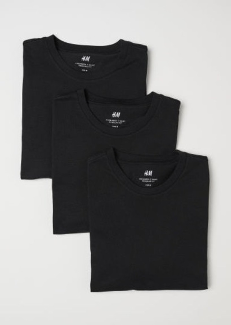 H&M H & M - 3-pack Regular Fit T-shirts - Black