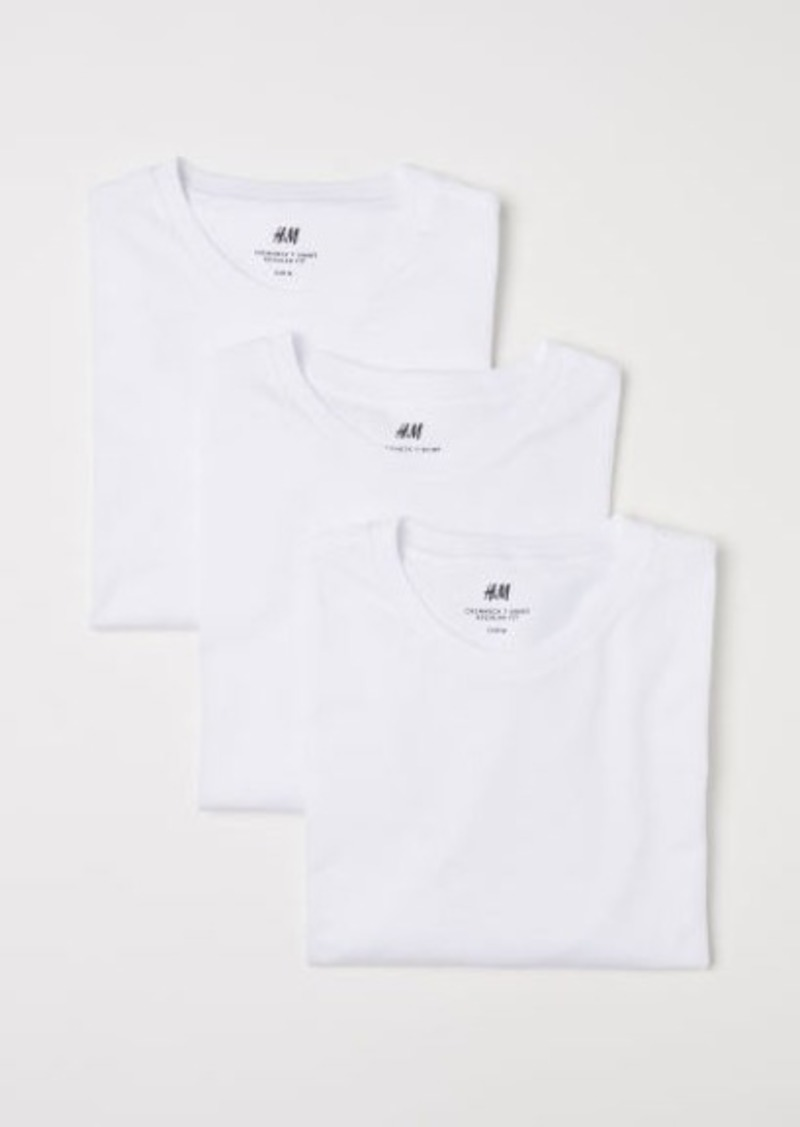 H&M H & M - 3-pack Regular Fit T-shirts - White