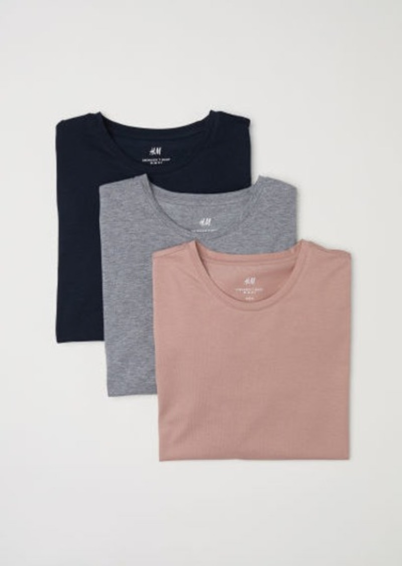 H&M H & M - 3-pack Slim Fit T-shirts - Pink