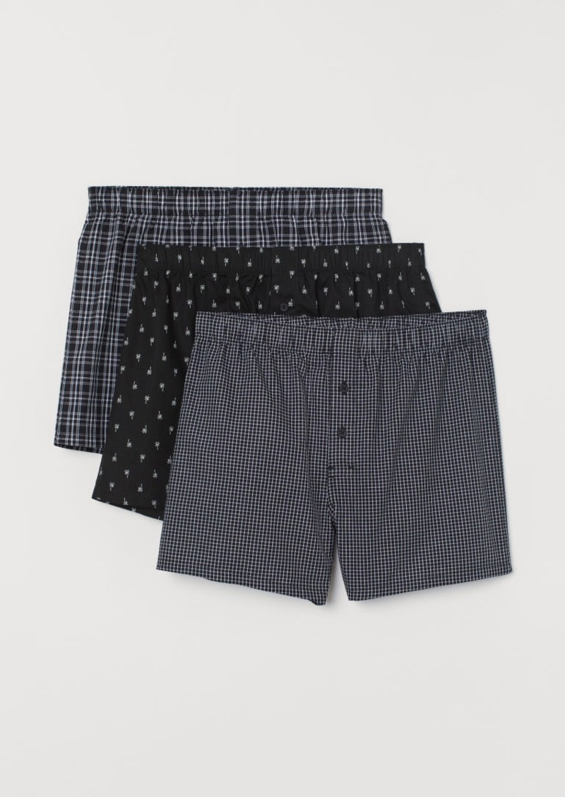 H&M H & M - 3-pack Woven Boxer Shorts - Black