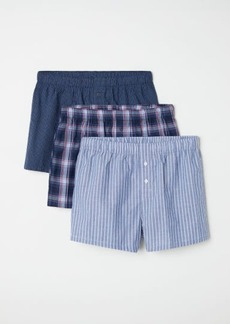 H&M H & M - 3-pack Woven Boxer Shorts - Blue