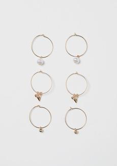 H&M H & M - 3 Pairs Hoop Earrings - Gold