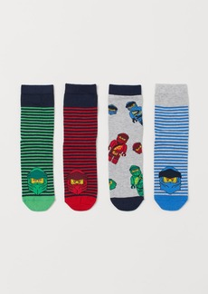 H&M H & M - 4-pack Patterned Socks - Blue