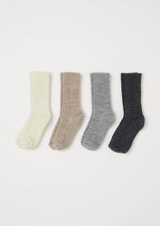 H&M H & M - 4-pack Wool-blend Socks - Gray