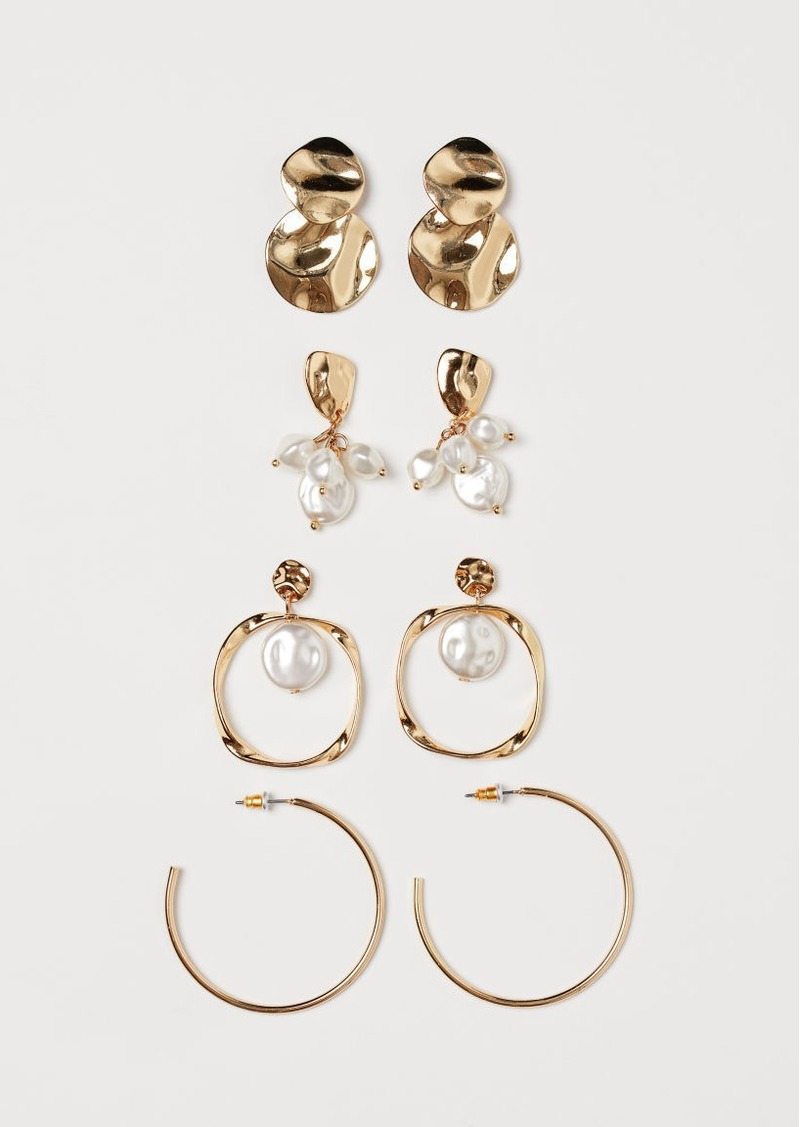 H&M H & M - 4 Pairs Earrings - White