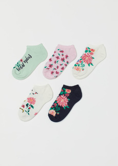 H&M H & M - 5-pack Floral Ankle Socks - White