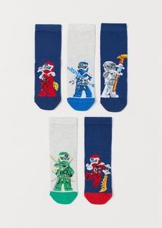 H&M H & M - 5-pack Patterned Socks - Blue