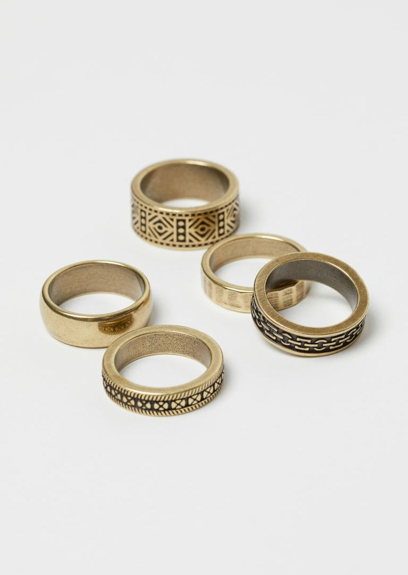 H&M H & M - 5-pack Rings - Gold