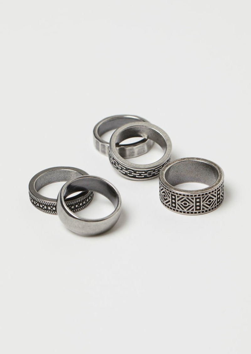 H&M H & M - 5-pack Rings - Silver