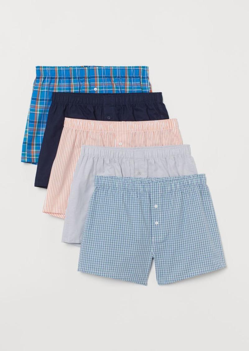 H&M H & M - 5-pack Woven Boxer Shorts - Blue