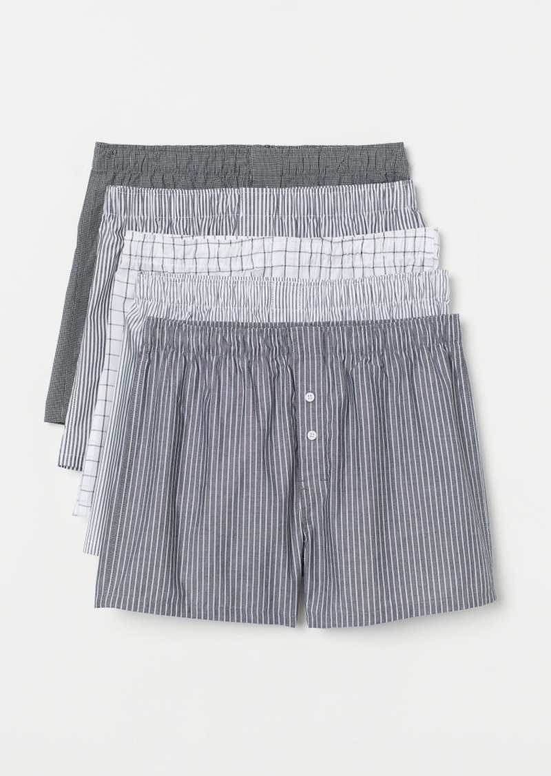 H&M H & M - 5-pack Woven Boxer Shorts - Gray