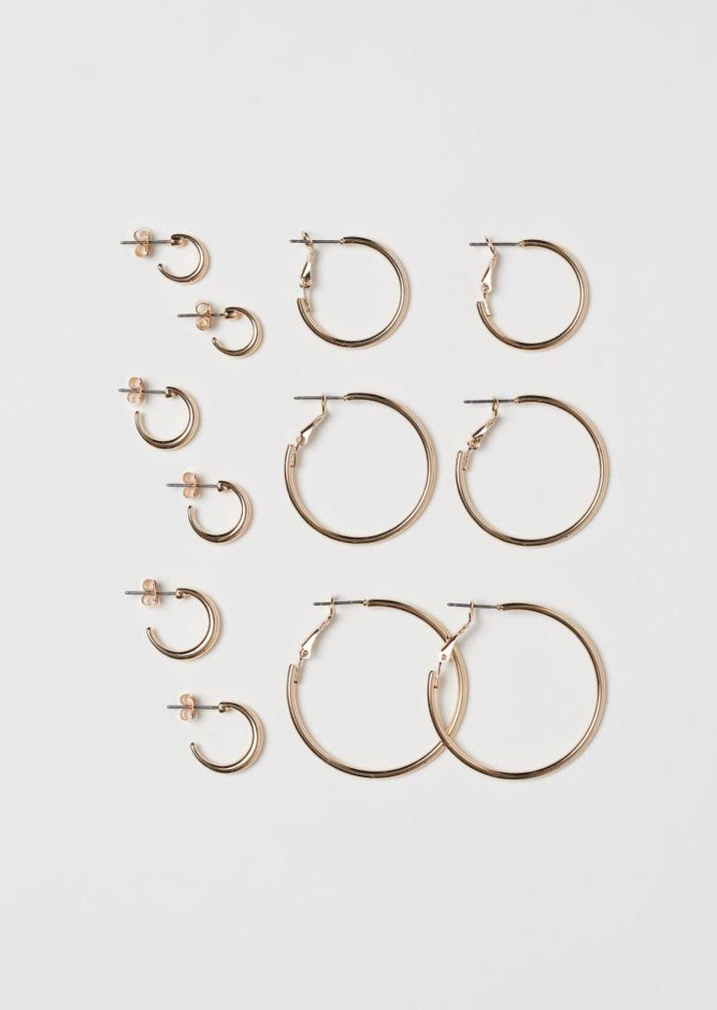 H&M H & M - 6 Pairs Hoop Earrings - Gold