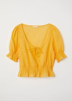 H&M H & M - Airy Blouse with Smocking - Yellow