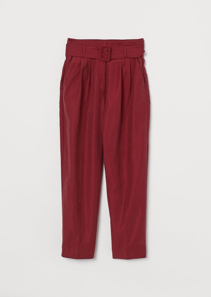 H&M H & M - Ankle-length Pants with Belt - Red