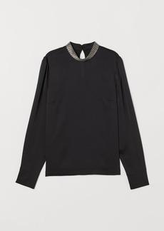 H&M H & M - Appliquéd Blouse - Black