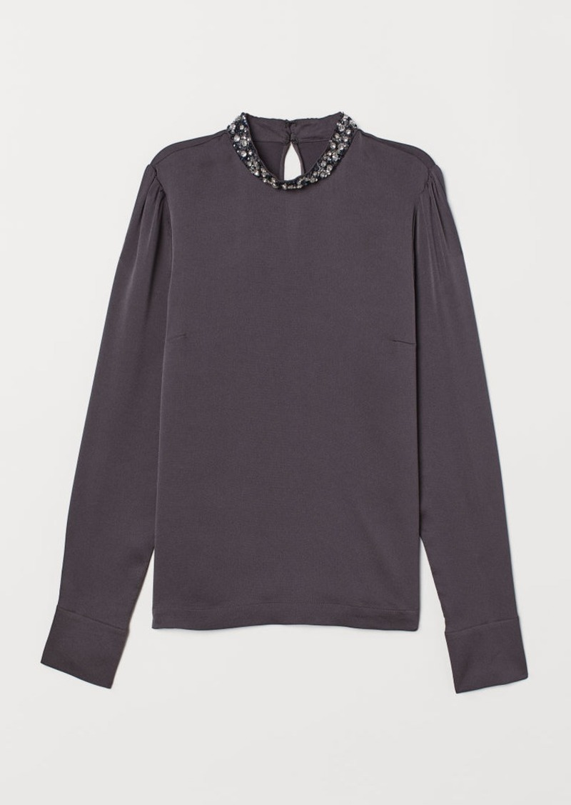 H&M H & M - Appliquéd Blouse - Gray