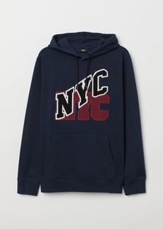 H&M H & M - Appliquéd Hooded Sweatshirt - Blue
