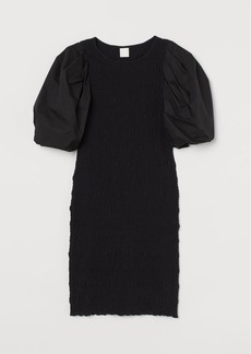 H&M H & M - Balloon-sleeved Dress - Black