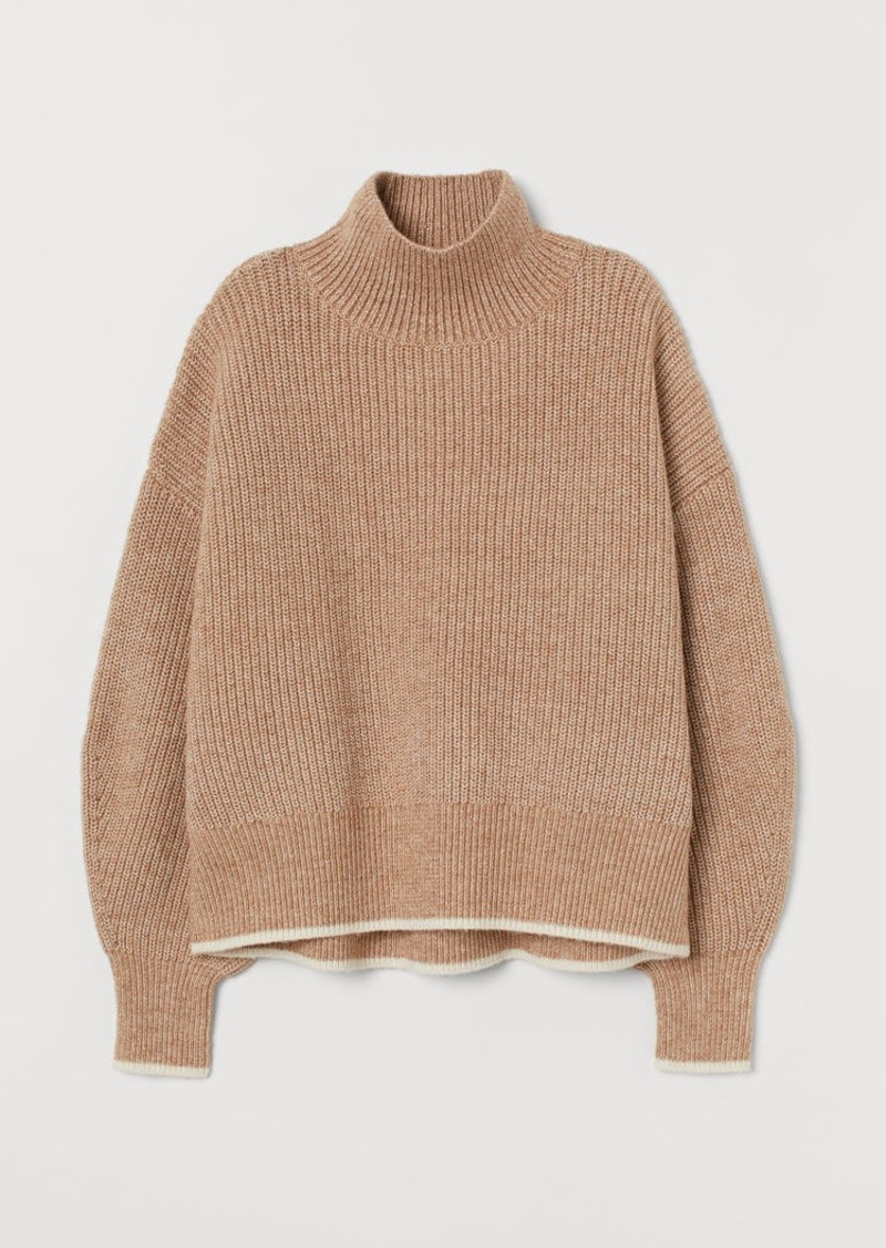 H&M H & M - Balloon-sleeved Sweater - Beige