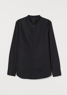 H&M H & M - Band-collar Shirt Slim fit - Black