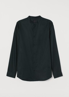 H&M H & M - Band-collar Shirt Slim fit - Green