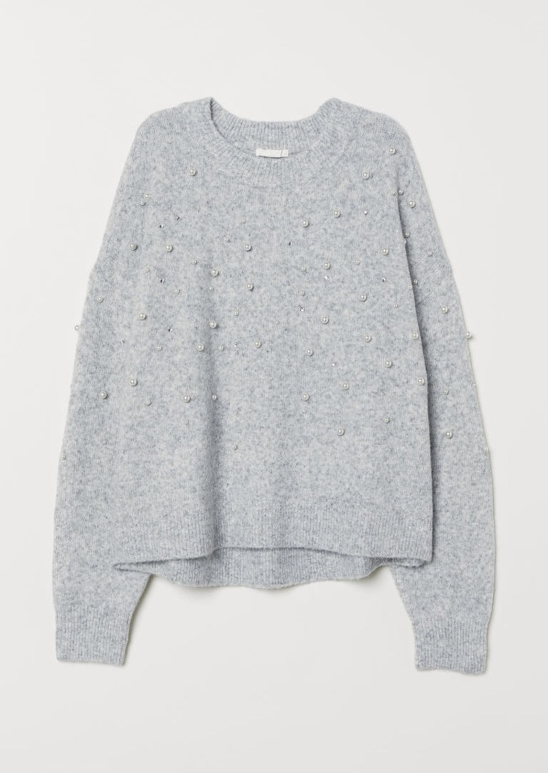 H&M H & M - Bead-embroidered Sweater - Gray