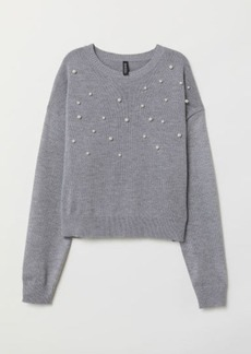 H&M H & M - Bead-patterned Knit Sweater - Gray
