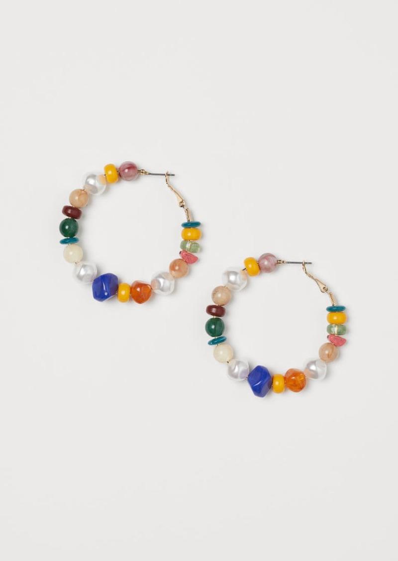 H&M H & M - Beaded Hoop Earrings - Blue