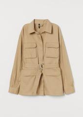 H&M H & M - Belted Shirt Jacket - Beige