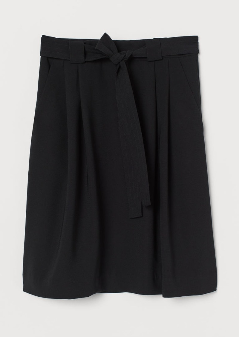 H&M H & M - Belted Skirt - Black