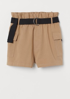 H&M H & M - Belted Utility Shorts - Beige