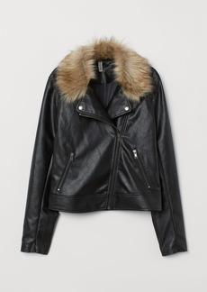 H&M H & M - Biker Jacket with Faux Fur - Black