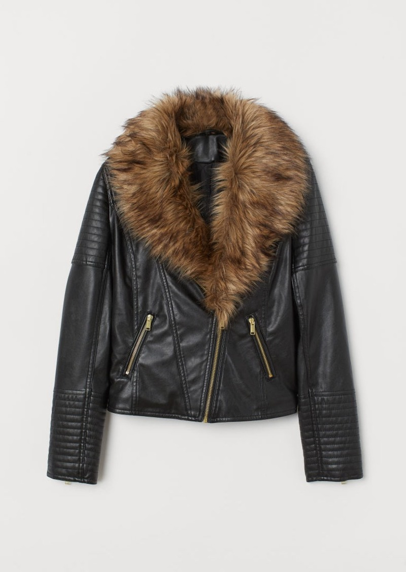 H&M H & M - Biker Jacket with Faux Fur - Black