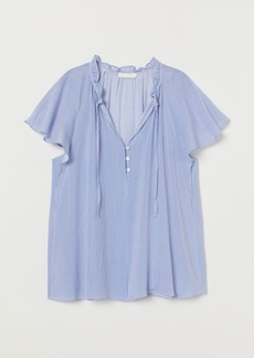 H&M H & M - Blouse with Butterfly Sleeves - Blue