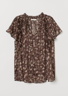 H&M H & M - Blouse with Butterfly Sleeves - Brown