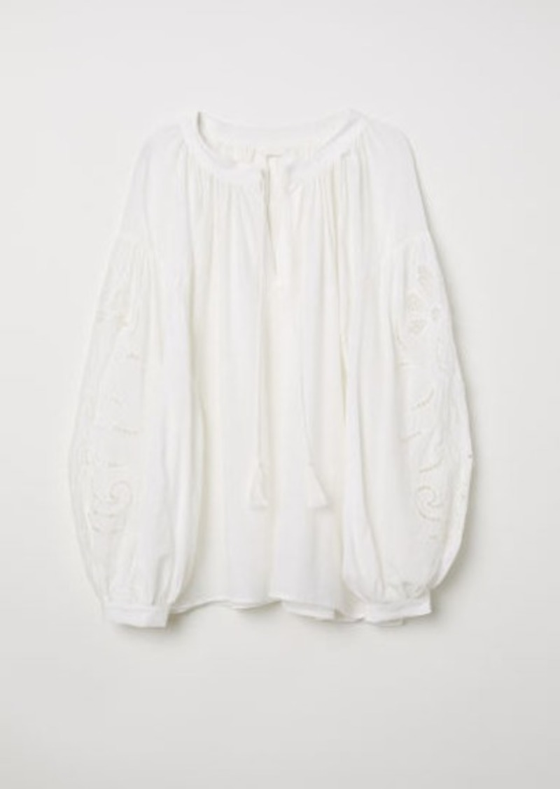 H&M H & M - Blouse with Cutwork Embroidery - White