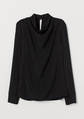 H&M H & M - Blouse with Draped Collar - Black