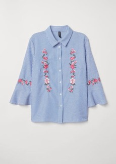 H&M H & M - Blouse with Embroidery - Blue