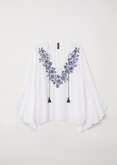 H&M H & M - Blouse with Embroidery - White
