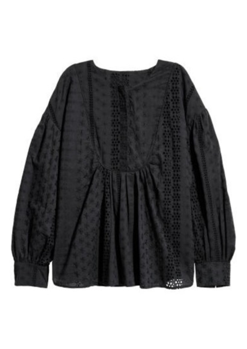 H&M H & M - Blouse with Eyelet Embroidery - Black